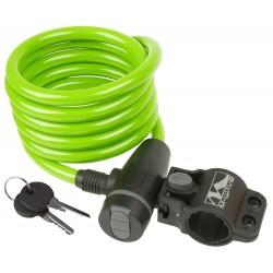 Велозамок M-Wave, 10х1800 мм, с крепежом, зеленый 5-233865