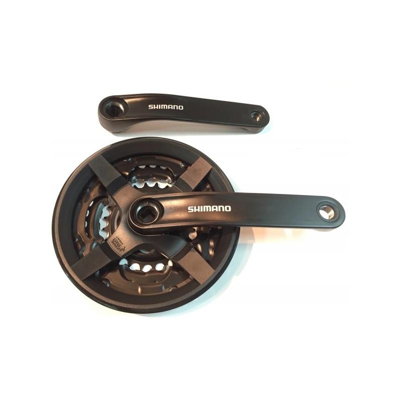 Система Shimano Tourney FC-TY301 черная, 175 мм, с защитой, квадрат, 48/38/28T, б/упак AFCTY301E888CL