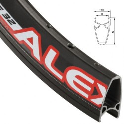 Обод AlexRims Race32, 622x15 мм, двойной, профиль 32 мм, черный, 32 отверстия, F/V 6-152832