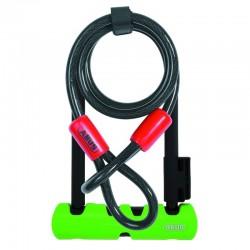 Велозамок Abus Ultra 410/170HB + трос Cobra 10/120мм, черно-зеленый