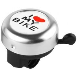Звонок Stels I love my bike, алюминиевый, черно-серебристый 210142