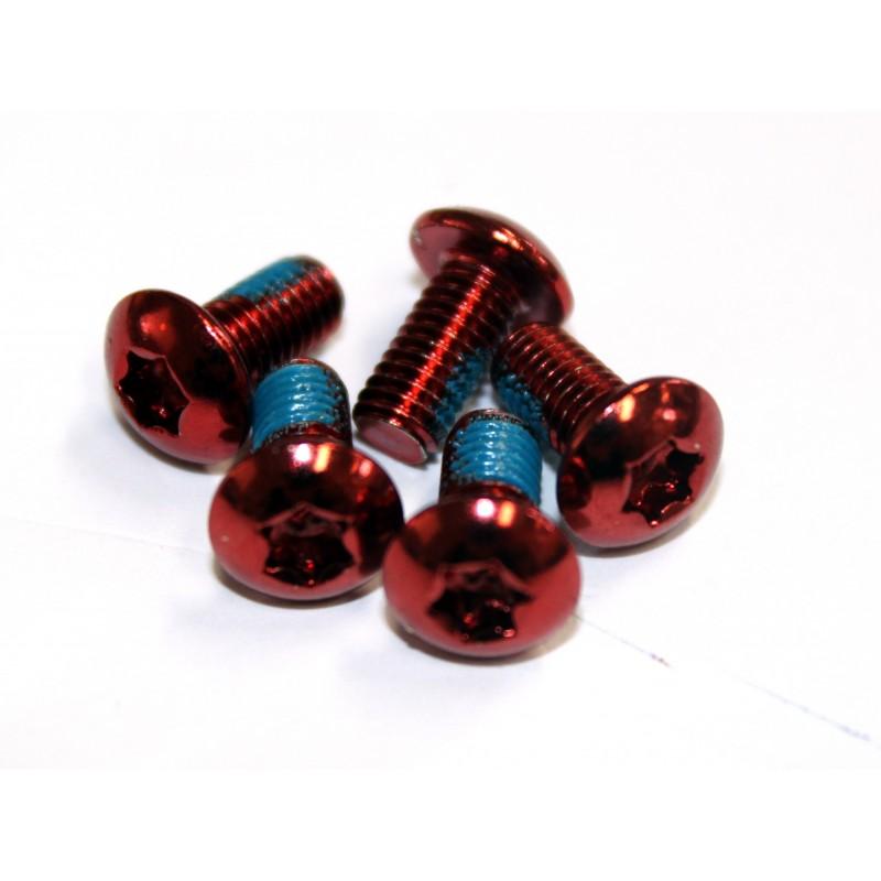 Набор болтов Clarks 6 шт для крепления тормозного ротора, красные М5х10, под ключ Т25 3-344