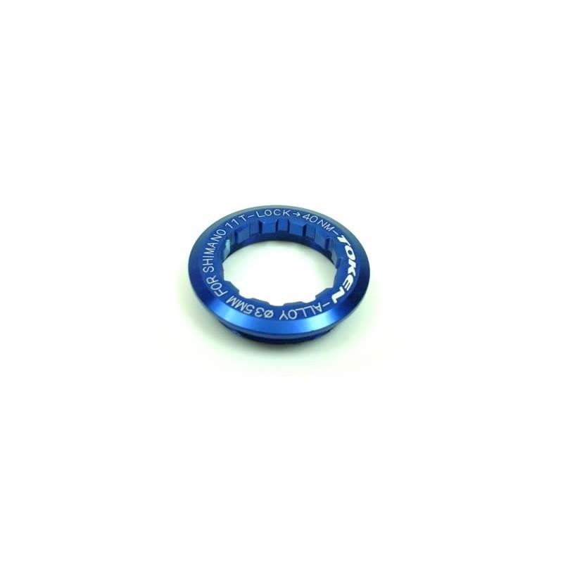 Стопорная гайка Token для кассеты Shimano 11T,  синяя TK041S Blue